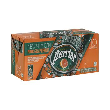 Perrier Sparkling Natural Mineral WaterPink Grapefruit 8.45-ounce Slim Cans (Pack of 10)