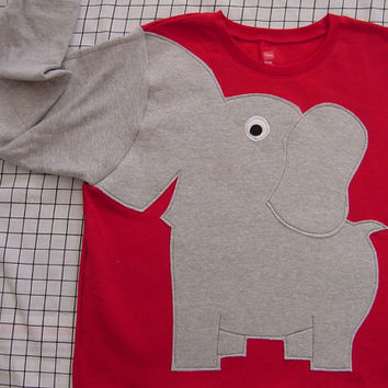 Elephant Trunk sleeve sweatshirt adult M BRiGHT Red