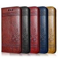 Leather Flip Phone Case For iPhone X 6 6S 7 8 Plus 5 5S SE For Samsung Galaxy S6 S7 Edge S8 Plus Retro Card Slot Phone Cover
