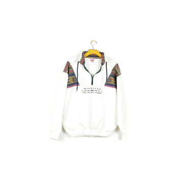 90s southwestern fleece / vintage 1990s / white pullover sweatshirt / quarter zip sweater / navajo tribal pattern / ski skiing snow / M - L