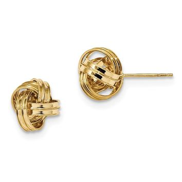14k Solid Gold 11 mm Polished Love Knot Post Earrings