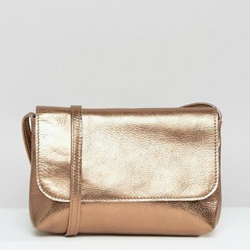 ASOS Metallic Soft Leather Cross Body Bag at asos.com