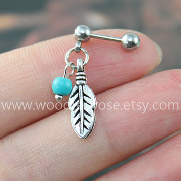 Turquoise Leaf Tragus Earring Jewelry,Cute Feather Cartilage Piercing ,feather barbell piercing jewelry,Tribal Leaf Helix Piercing