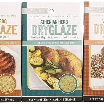 Urban Accents All Natural Gluten Free Grilling And Roasting DryGlaze 3 Flavor Variety Bundle