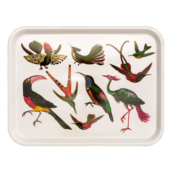 Patterned tray - White/Birds - Home All   H&M GB
