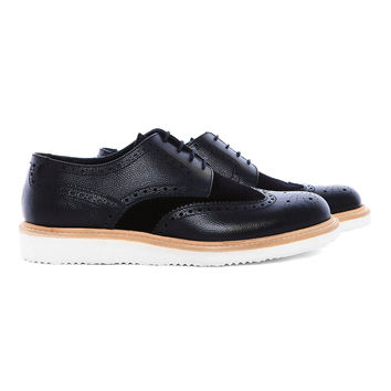 RF104 - Black textured leather brogue with wedge sole