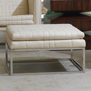 Quilted Tuxedo Ottoman - Ivory
