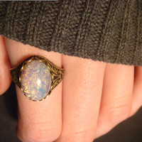 Victorian Style Fire Opal Antique Bronze Ring- Adjustable (1369)