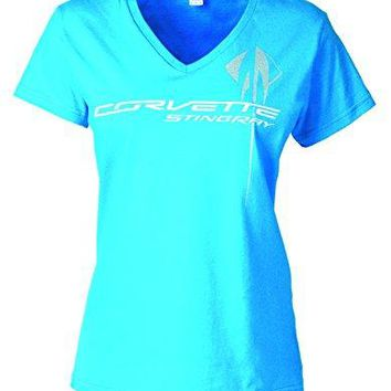 Corvette Ladies C7 Overlay T-Shirt Caribbean Blue