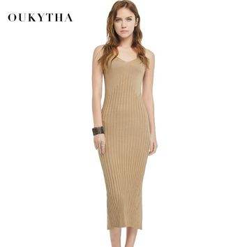 Oukytha Summer New Casual Sleeveless V-neck Sweater Close fitting Maxi Long Dress Brown Black Sweater dress Knitted S166048