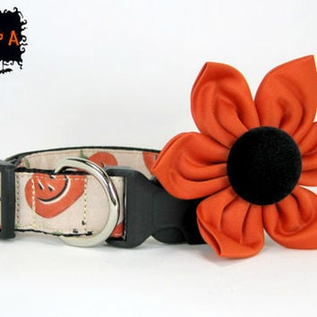 Halloween Dog Collar with Flower set  (Mini,X-Small,Small,Medium ,Large or X-Large Size)- Adjustable