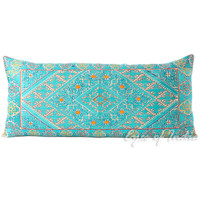 """Teal Embroidered Moroccan Bolster Decorative Throw Pillow Cushion Cover - 32 X 14"""""""