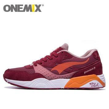 onemix Leather Running Shoes for Men Women 2016 Sneaker Breathable Lady Trainers Walki