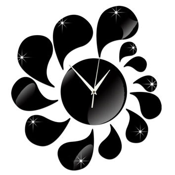 3D Water-drop Mirror Wall Clock Acrylic Sticking   black