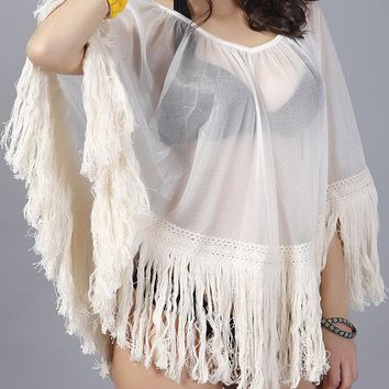Streetstyle  Casual Fringe See-Through Plain Cape Sleeve Tunic
