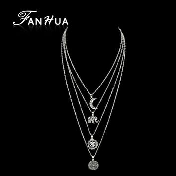 FANHUA Boho Chic Multi Layer Chain Necklace Ethnic Style Silver Color Chain with Round Moon Elephant Pendant Necklace