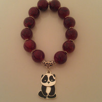 Red Panda Bear Bracelet, Handmade Red Bead Bracelet, Chunky Red Bracelet, Alpha Omicron Pi colors, Free Shipping