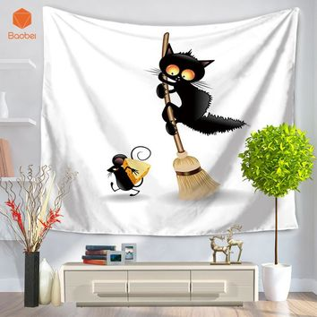 Black Cat Wall Hanging Indian  Tapestry Bohemian Bedspread Dorm Cover Yoga Mat Beach Towel Home Room Wall Art Decor GT20