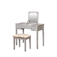Silver Butterfly Vanity and Stool