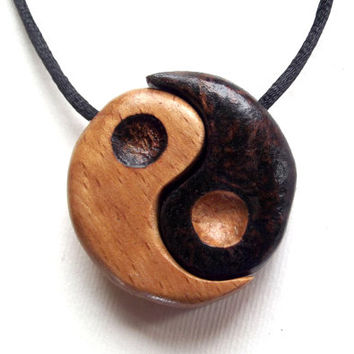Wood Yin Yang pendant, two piece, with pyrography (wood burning). Yin Yang necklace, wooden yin yang, yin and yang wood, yin yang charm