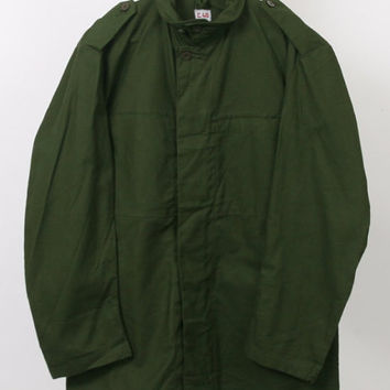 MILITARY C 46 Unisex Womens Mens Canvas Cotton Dark Forest Green Khaki Pocket Camo Vintage Army Shirt Jacket Outerwear