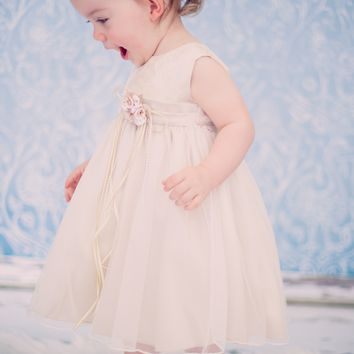 Champagne French Mesh & Metallic Floral Jacquard Bodice Occasion Dress (Baby Girls)