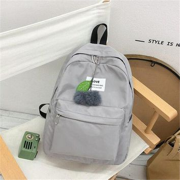 University College Backpack AEQUEEN Cute Fur Ball s For Teenage Girls  Women Black Shoulder Bags Students School Bags Traveling Daypack 2018AT_63_4