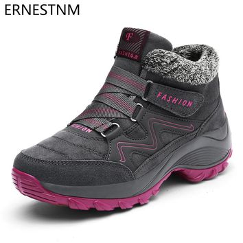ERNESTNM Winter Women Snow Boots Waterproof Warm Plush Platform Ankle Boots Ladies Hiking Sneakers Shoes Botas Mujer Invierno