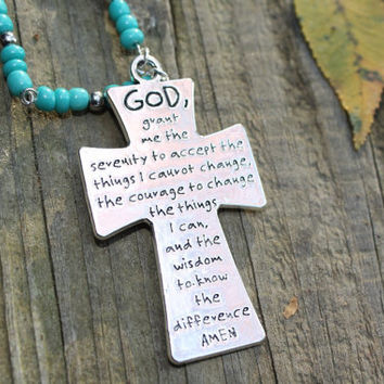 Rear view mirror  charm. A cross with the Serenity Prayer,  and turquoise beads to hang in your car. Recovery, NA, AA