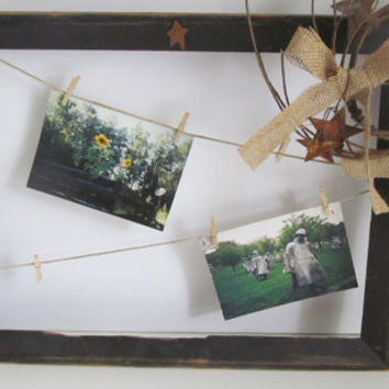 Rusty Tin Star Picture Frame Display for Photos Primitive Wall Decor Clothespin Clothesline Photo Display Frame