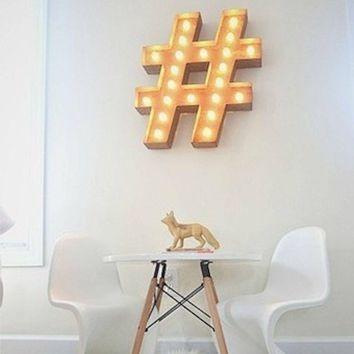 "24"" Hashtag ""#"" Vintage Marquee Lights Sign (Rustic)"