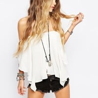 Free People Ruffle Blouse in White