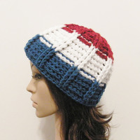Epic Beanie Ribbed  Red White and Blue