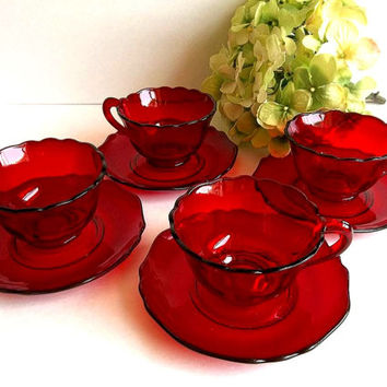 RARE Antique Cambridge Glass Carmen FOUR teacups & saucers sets ruby red Stunning for a tea party 1930's elegant depression glass
