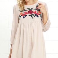 Glamorous Afternoon Blooms Beige Embroidered Babydoll Dress