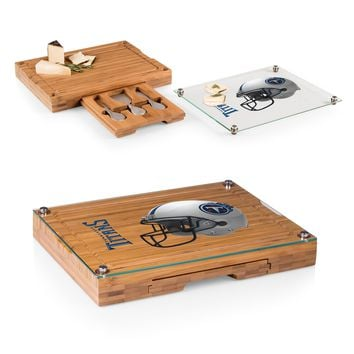 Tennessee Titans 'Concerto' Glass Top Cheese Board & Tools Set-Bamboo Digital Print
