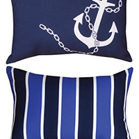"Manual Woodworkers SHNAUS 2-Pillow Set Nautical Striped Anchor Reversible Indoor Outdoor 18""x13"" with 6-Pack of Tea Candles"