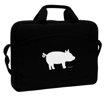 "Pig Silhouette Design 15"" Dark Laptop / Tablet Case Bag by TooLoud"