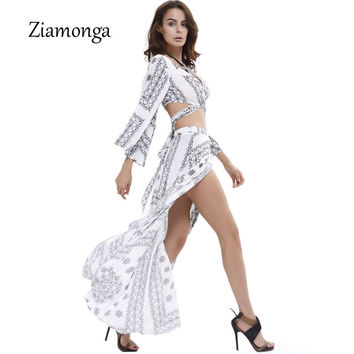 Ziamonga Sexy 2 Piece Dress Women Vintage Long Beach Dress Summer Maxi Dress Boho Bohemian Outfit Split Two Piece Vestidos C2902
