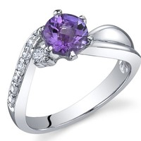 Ethereal Curves 0.75 carats Amethyst Ring in Sterling Silver Rhodium Nickel Finish Sizes 5 to 9