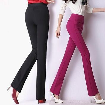 High quality women classical business suit high waist pants wide leg stretch office ladies work pants plus size pantalones mujer