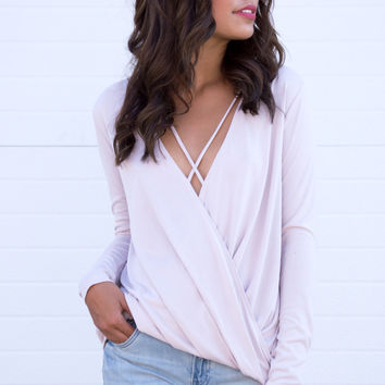 Lina Strappy Cross Front Top - Blush