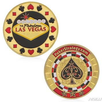 Las Vegas Poker Style Souvenir Zinc Alloy Commemorative Coin Collection Non-currency Coins Gifts 4 Type G22 Drop ship