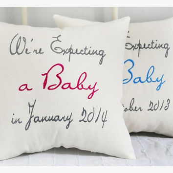 Expecting a baby girl, expecting parents pillow, expecting parents gift , expecting gift pillow, expecting mom and dad gift, baby pillow