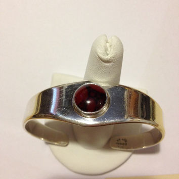 Taxco Red Jasper Cuff Bracelet Sterling Silver 30 Grams Mexico Mexican Vintage 925 Jewelry Southwestern Birthday Valentine's Mother's Gift