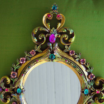 Small Gold Jewelled Vintage Mirror Hollywood Regency Hand Painted - Gift Wrapped