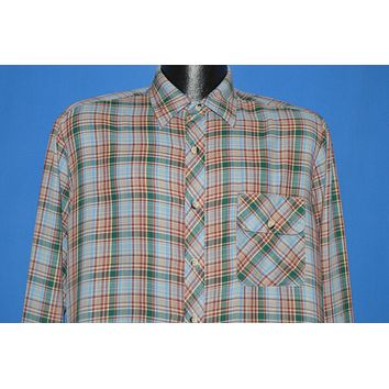 80s Sears Blue Green Plaid Button Front shirt Large