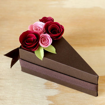 Chocolate Paper Cake Slice Favor Boxes