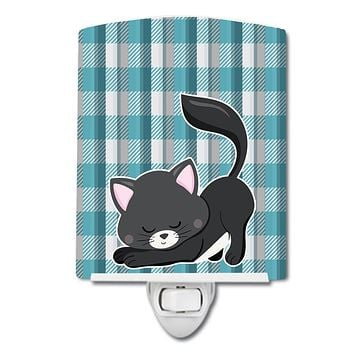 Little Black Cat Kitten Ceramic Night Light BB6881CNL