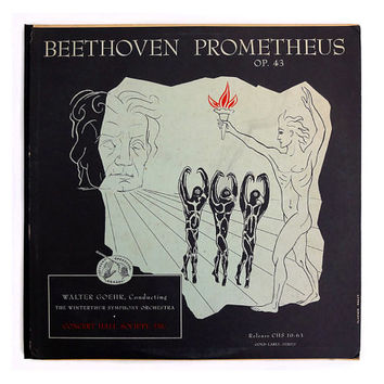 "Vladimir Kagan record album design, c.1950s. ""Beethoven Prometheus"" LP"